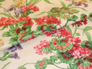 Chintz fabric has bright flowery patterns
