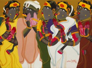 From one of the women – The painting contains the typical theme of his work-the Telengana woman From any point – Notice the use of bright, 'Indian' colours