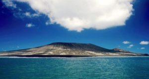 Underwater volcanic eruptions can create islands. In 2005, a volcanic eruption in the Pacific Ocean near Tonga created this island.
