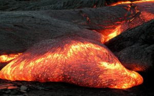 The name given to melted or molten rock is magma. When this reaches Earth's surface, we call it lava. (Photo courtesy: Hawaii Volcano Observatory (DAS)/Wikipedia)